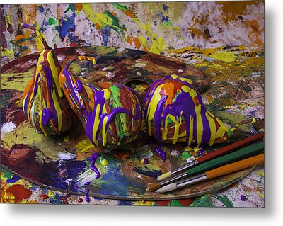 Pear Paint Still Life Metal Print