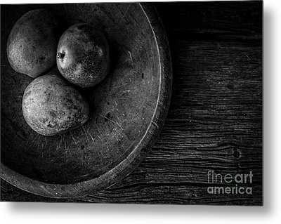 Pear Still Life In Black And White Metal Print by Edward Fielding