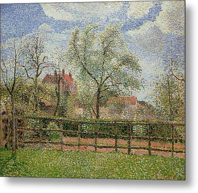 Pear Trees And Flowers At Eragny Metal Print by Camille Pissarro
