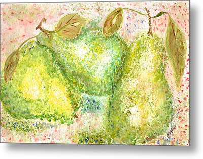 Pear Trio Metal Print by Paula Ayers