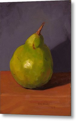 Pear With Gray Metal Print