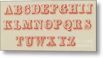 Pearl Letter Red Font Metal Print by English School
