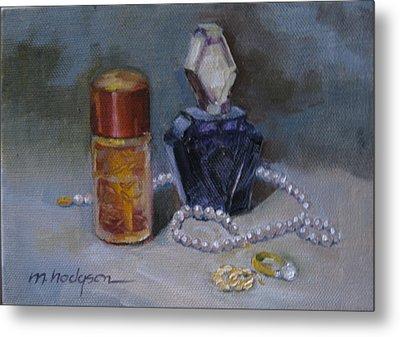 Pearls And Perfumes Metal Print by Margaret Hodgson