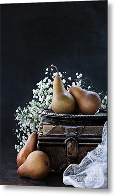 Metal Print featuring the photograph Pears And Baby's Breath by Stephanie Frey