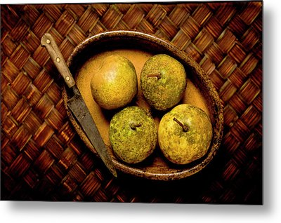 Pears And Dish Metal Print