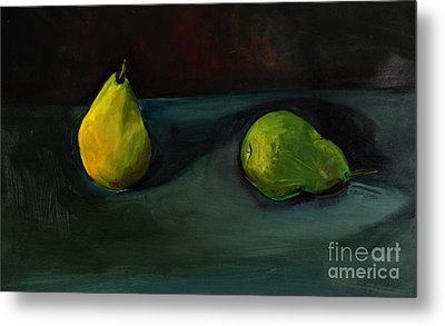 Metal Print featuring the painting Pears Apart by Daun Soden-Greene