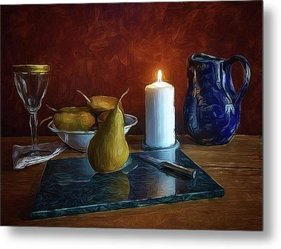 Metal Print featuring the photograph Pears By Candlelight by Mark Fuller
