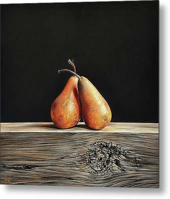 Metal Print featuring the drawing Pears by Elena Kolotusha