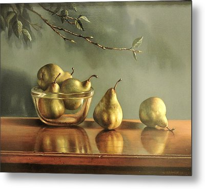 Metal Print featuring the painting Pears by William Albanese Sr