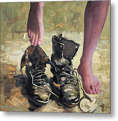 Peasant Shoes My Foot Metal Print by Richard Barone