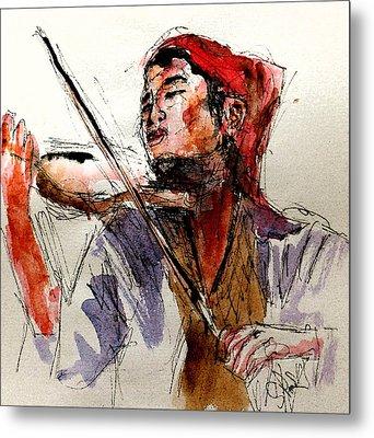 Peasant Violinist Metal Print by Steven Ponsford