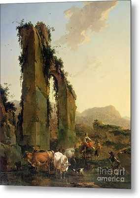 Peasants With Cattle By A Ruined Aqueduct Metal Print by Nicolaes Pietersz Berchem