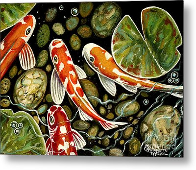 Pebbles And Koi Metal Print