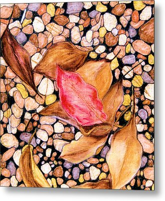 Pebbles And Leaves Metal Print