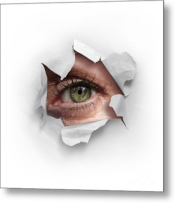 Peek Through A Hole Metal Print