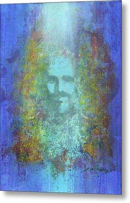 Peeking Thru Maya 2 In Blue Metal Print