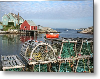 Peggys Cove And Lobster Traps Metal Print by Thomas Marchessault