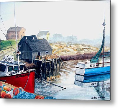 Metal Print featuring the painting Peggy's Cove Harbour by Patricia L Davidson
