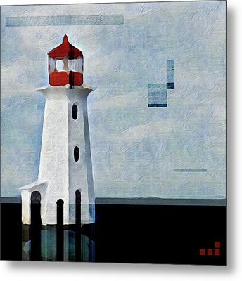 Metal Print featuring the mixed media Peggys Cove Lighthouse Painterly Look by Carol Leigh