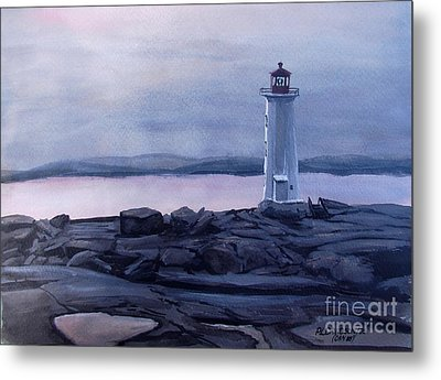 Metal Print featuring the painting Peggy's Cove Lighthouse  by Patricia L Davidson