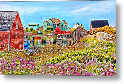 Peggy's Cove Wildflower Harbour Metal Print by Kevin J McGraw