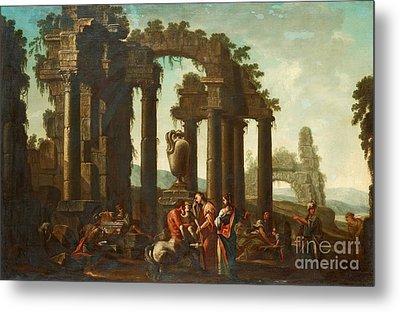 Peleus Consigning Achilles To Chiiron Metal Print
