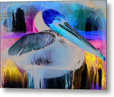Metal Print featuring the mixed media Pelican by Anthony Burks Sr