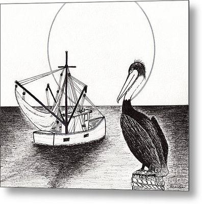 Pelican Fishing Paradise C1 Metal Print by Ricardos Creations