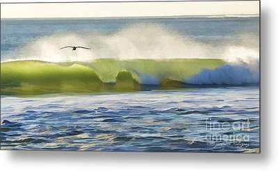 Metal Print featuring the photograph Pelican Flying Over Wind Wave by John A Rodriguez