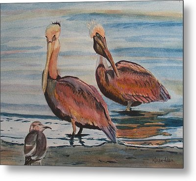Metal Print featuring the painting Pelican Party by Karen Ilari