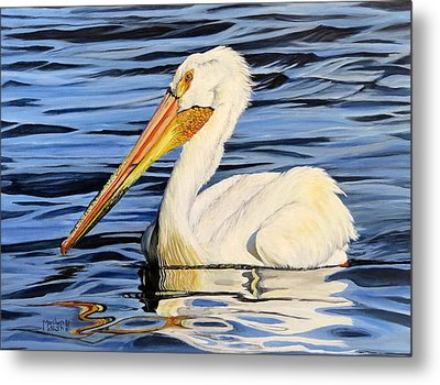 Pelican Posing Metal Print by Marilyn McNish