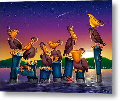 Pelican Sunset Blank Greeting Card Metal Print by Walt Curlee