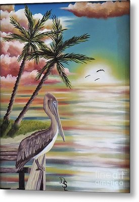 Pelican Sunset Metal Print by Dianna Lewis