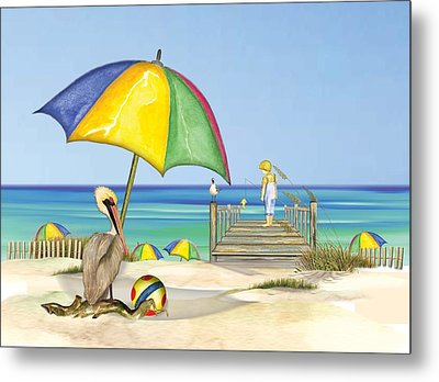 Pelican Under Umbrella Metal Print by Anne Beverley-Stamps
