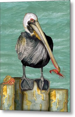 Metal Print featuring the painting Pelican With Shrimp by Anne Beverley-Stamps