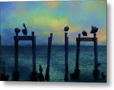 Metal Print featuring the photograph Pelicans At Sunset by Jan Amiss Photography