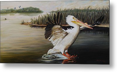 Pelicans At The Confluence Metal Print