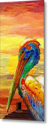 Pelicans Wharf Tequila Sunset Metal Print by Wally Boggus