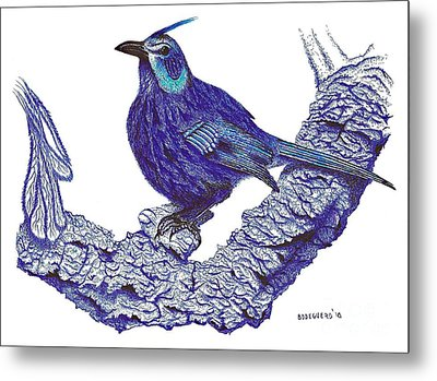 Pen And Ink Drawing Of Blue Bird Metal Print by Mario Perez