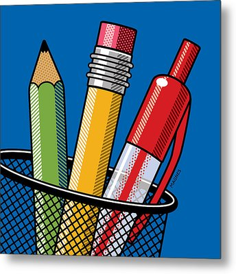 Metal Print featuring the digital art Pen And Pencils by Ron Magnes
