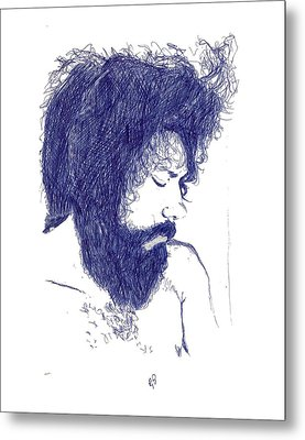 Pen Portrait Metal Print by Ron Bissett