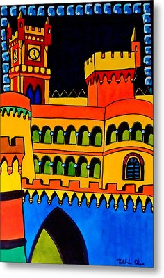 Metal Print featuring the painting Pena Palace Portugal by Dora Hathazi Mendes