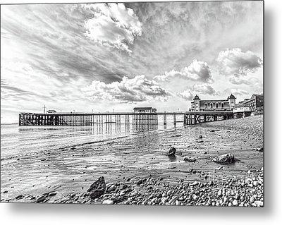 Penarth Pier Morning Light 2 Mono Metal Print by Steve Purnell