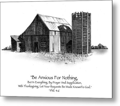 Pencil Drawing Of Old Barn With Bible Verse Metal Print by Joyce Geleynse