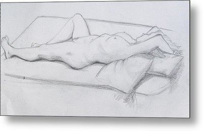 Metal Print featuring the drawing Pencil Sketch 1.2011 by Mira Cooke