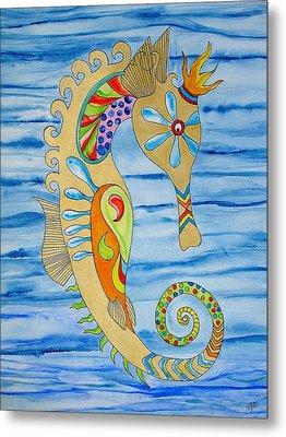 Penelope The Seahorse Metal Print by Erika Swartzkopf