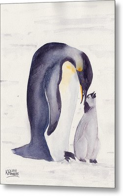 Penguin And Baby Metal Print by Ken Powers