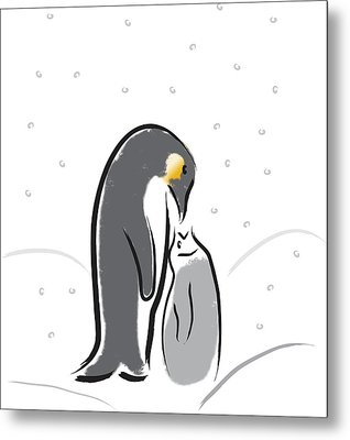 Penguin Feeding Metal Print
