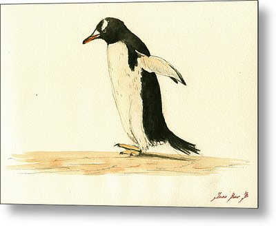 Penguin Walking Metal Print by Juan  Bosco