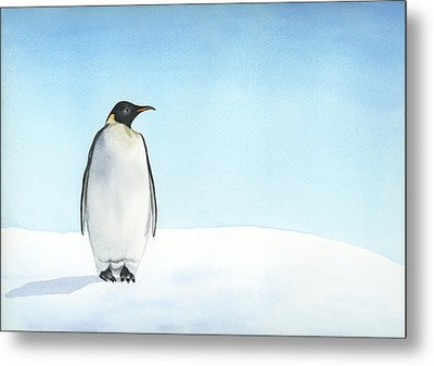 Metal Print featuring the painting Penguin Watercolor by Taylan Apukovska
